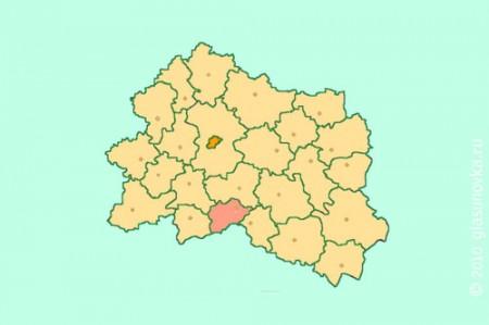 Глазуновский район на карте Орловской области
