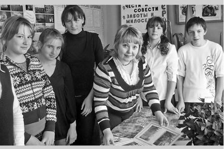 Г.А. Однозеркина со своими воспитанниками