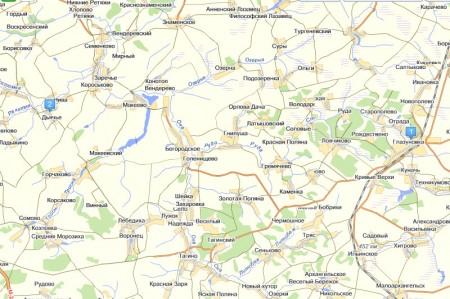 Глазуновка и Дьячье на современной карте