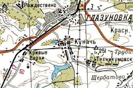 Посёлок Кунач на карте Генштаба, 1942 год.