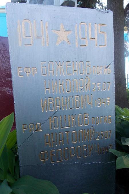 Мемориальная плита на захоронении в Ловчиково.