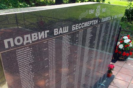 Фотографии мемориальных плит с фамилиями захороненных.