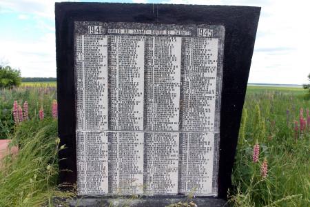 Мемориальный комплекс в деревне Очки Глазуновского района Орловской области. Фамилии захороненных бойцов.