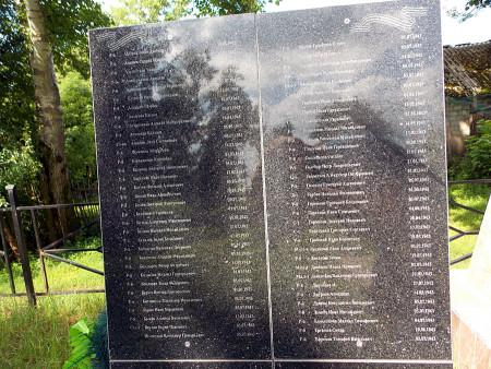 Мемориальные плиты братского воинского захоронения в Тагино Глазуновского района.