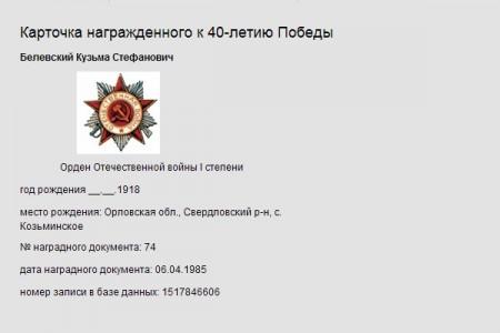 Карточка награжденного к 40-летию Победы — Кузьма Стефанович Белевский.