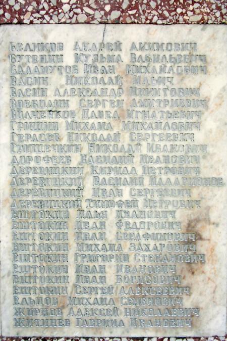 Мемориальные плиты с именами погибших воинов-односельчан в Красной Слободке.